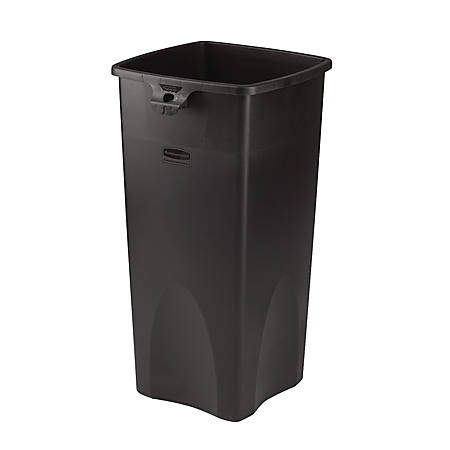 """Rubbermaid® Square Waste Containers, 23 Gallons, 31""""H x 15 1/2""""W x 16 1/2""""D, Black"""