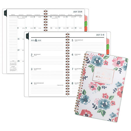 "AT-A-GLANCE® Badge Weekly/Monthly Academic Planner, 4 7/8"" x 8"", Floral, July 2018 to June 2019"