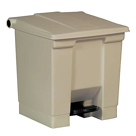 """Rubbermaid® Step-On Waste Container, 8 Gallons, 17"""" x 15 3/4"""" x 16 1/4"""", Beige"""