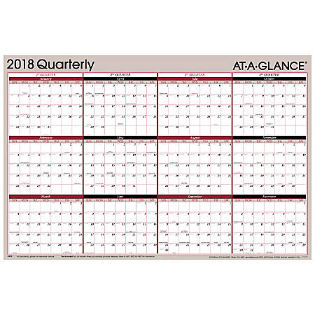 """AT-A-GLANCE® Erasable Yearly Wall Planner, 36"""" x 24"""", White, January to December 2018 (A123-18)"""