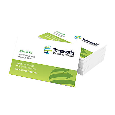 "Full-Color Business Cards, 3 1/2"" x 2"", 16 Pt, Glossy White, Box Of 250"