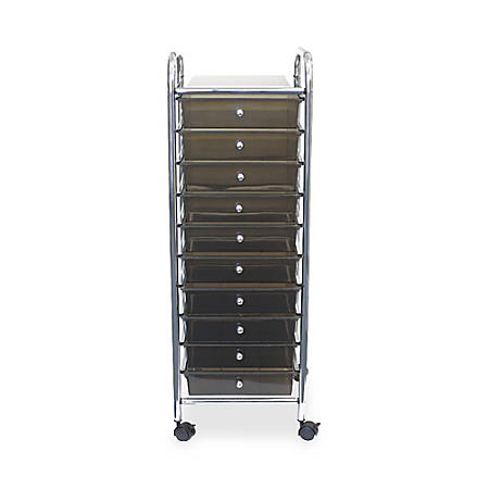 """Office Depot® 10-Drawer Organizer With Casters, 37 1/2""""H x 15 1/2""""W x 13""""D, Smoke"""