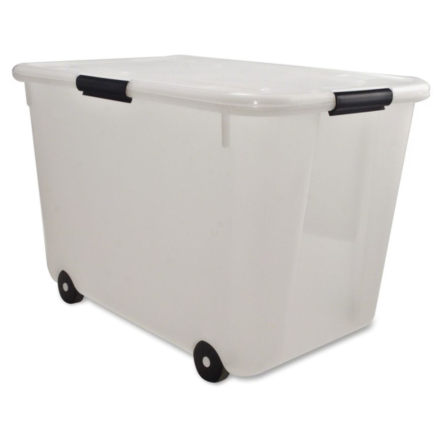 Beau Advantus 15 Gallon Rolling Storage Tub External Dimensions 23.8 Width X  15.8 Depth X 15.8 Height 15 Gal Stackable Plastic Clear For Document 1 Each  By ...