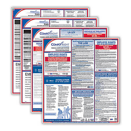 ComplyRight Federal/State Labor Law Posters And 1-Year Subscription Service, Bilingual, Indiana