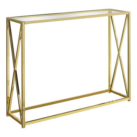 Monarch Specialties Hall Console Accent Table With Tempered Glass, Rectangular, Gold