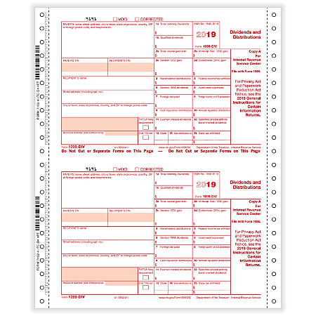 """ComplyRight 1099-DIV Tax Forms, Continuous Pin Feed, Copies A/State/B/C, 4-Part, 9"""" x 11"""", Pack Of 100 Forms"""
