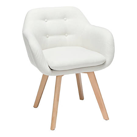 OFM 161 Collection Mid Century Modern Tufted Accent Chairs With Arms, Beige/Beechwood, Set Of 2