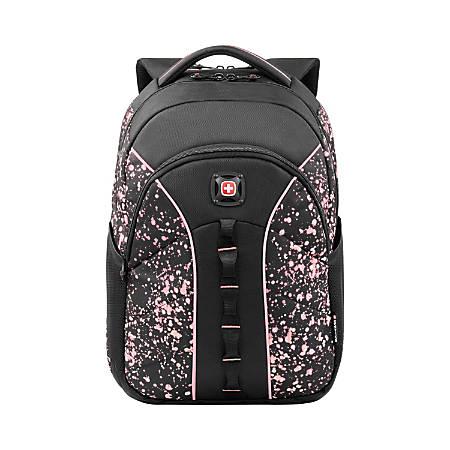 """Wenger® Sun Backpack With 16"""" Laptop Pocket, Black/Pink Paint Splatter"""