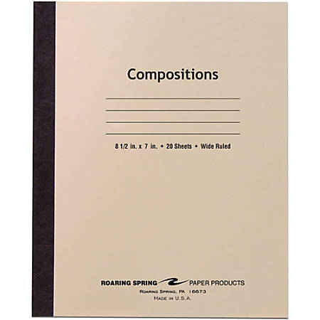 """Roaring Spring Composition Book - 20 Sheets - Sewn - 0.34"""" Ruled - 15 lb Basis Weight - 8 1/2"""" x 7"""" - White Paper - Manila Cover - Paperboard Cover - Unpunched, Flexible Cover, Nonperforated - 1Each"""
