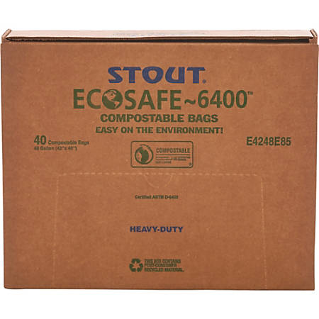 EcoSafe-6400 Compostable Compost Bags, 0.85 mil, 48-Gallon, Green, Box Of 40