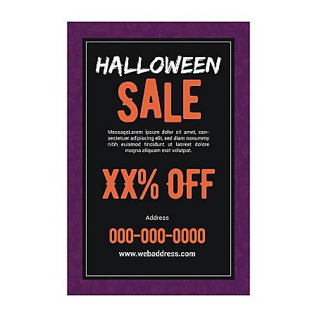 Window Decal Template, Purple Halloween, Vertical