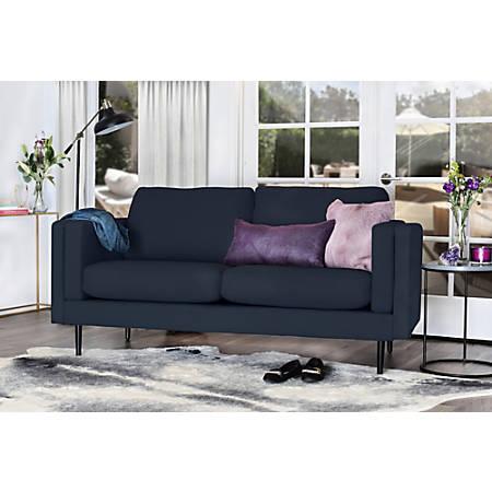 Elle Décor Simone Double-Track Arm Sofa, Cobalt/Espresso
