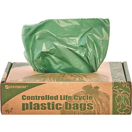 Controlled Life Cycle Trash Garbage Bags, 1.1 mil, 33-Gallon, Green, Box Of 40