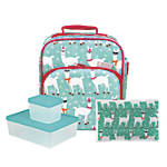 Bentology 4-Piece Lunch Kit, Llama, Turquoise
