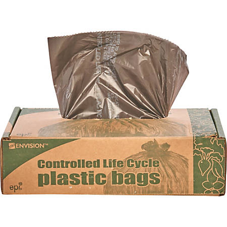 Controlled Life Cycle Trash Garbage Bags, 1.1 mil, 39-Gallon, Brown, Box Of 40