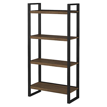 Bush Furniture Latitude 4 Shelf Etagere Bookcase, Rustic Brown Embossed, Standard Delivery