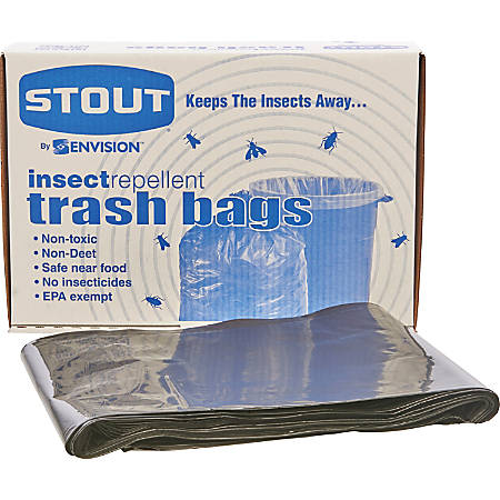 """Stout® 33% Recycled Insect Repellent Trash Bags, 35 Gallons, 33"""" x 40"""", Black, Box Of 80"""