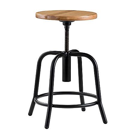 National Public Seating 6800 Height-Adjustable Swivel Stool, Wood/Black