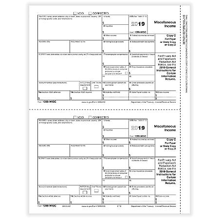 """ComplyRight™ 1099-MISC Tax Forms, Laser Cut, Payer Copy C, 8-1/2"""" x 11"""", Pack Of 50 Forms"""
