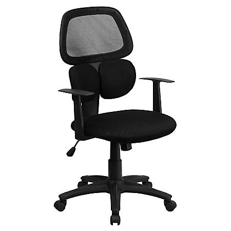Flash Furniture Mesh Mid-Back Swivel Chair With Flexible Dual Lumbar Support, Black