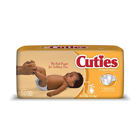 Cuties® Baby Diapers, Size 1, 8-14 Lb, Box Of 50