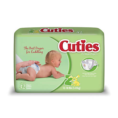 Cuties® Baby Diapers, Size 2, 12-18 Lb, Box Of 42