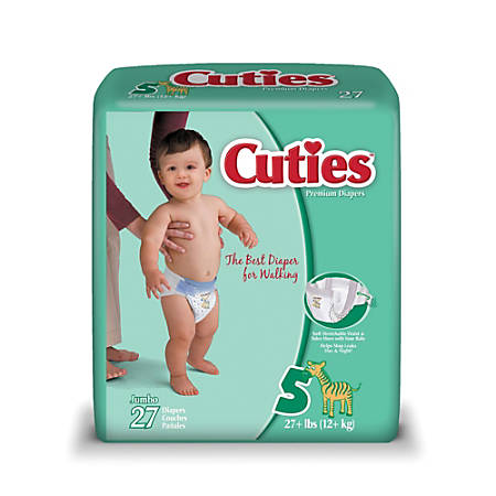 Cuties® Baby Diapers, Size 5, 27+ Lb, Box Of 27
