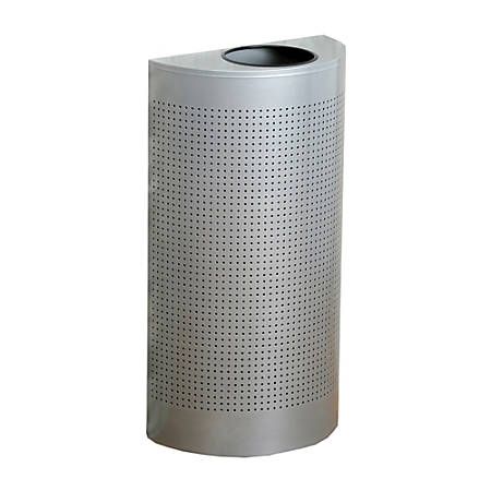 """United Receptacle Open Top Half Round Waste Can, 32""""H x 18""""W x 9""""D, 12-Gallon, Silver"""