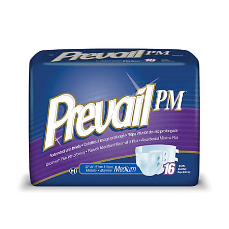 "Prevail® PM Extended Wear Adult Briefs, Medium, 32""-42"", Yellow, Box Of 16"