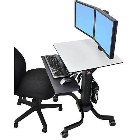 Ergotron WorkFit-C Dual Sit Stand Computer Stand, Black/Gray