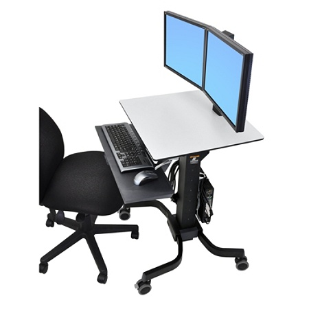 Ergotron Workfit C Dual Sit Stand Computer Blackgray By Office Depot Officemax