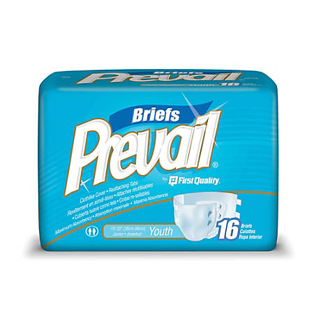"""Prevail® Specialty Size Briefs, Youth, 15""""-22"""", Box Of 16"""