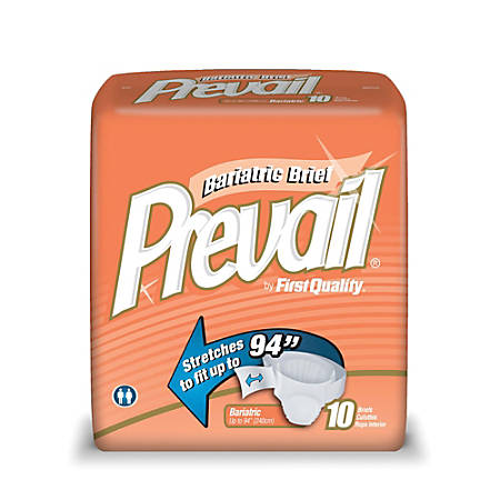 """Prevail® Specialty Size Briefs, Bariatric, Up to 94"""", Box Of 10"""