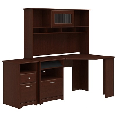 Bush Furniture Cabot Corner Desk With Hutch And 2 Drawer File Cabinet Harvest Cherry Standard Delivery By Office Depot Officemax