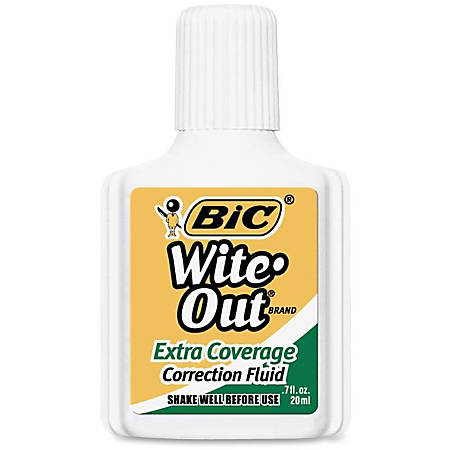 BIC® Wite-Out® Extra Coverage Correction Fluid, 20 mL Bottles, White, Pack Of 12