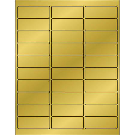 "Office Depot® Brand Foil Rectangle Laser Labels, LL210GD, 2 5/8"" x 1"", Gold, 30 Labels Per Sheet, Case Of 300 Sheets"