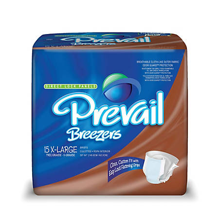 """Breezers® By Prevail® Adult Briefs, X-Large, 59""""-64"""", Beige, Box Of 15"""