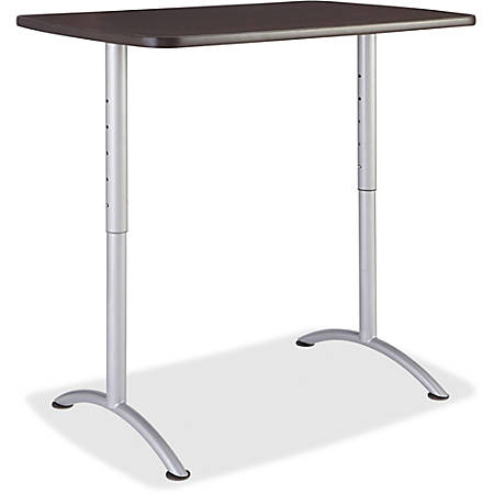 "Iceberg Walnut Top Sit-to-Stand Table - Rectangle Top - Arch Base - 2 Legs - 48"" Table Top Length x 30"" Table Top Width x 1.13"" Table Top Thickness - 42"" Height - Assembly Required - Gray Walnut, Silver Gray"