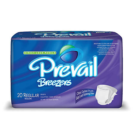 "Breezers® By Prevail® Adult Briefs, Regular, 40""-49"", Lavender, Box Of 20"