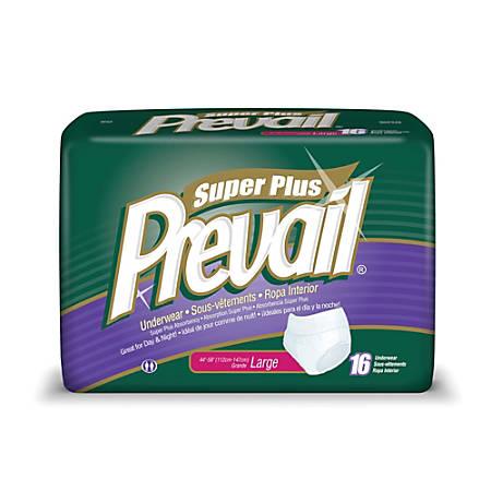 "Prevail® Protective Underwear-Super Plus, Large, 44""-58"", Blue, Box Of 16"
