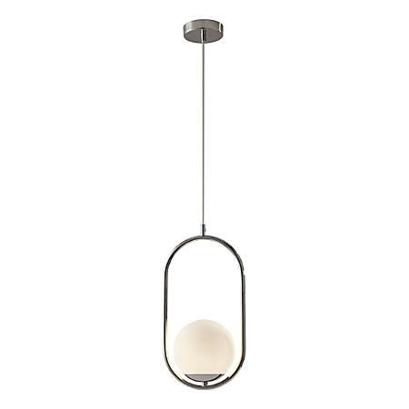 "Adesso® Sabrina Pendant Lamp, 15""H, White-Opal Shade/Polished-Nickel Base"