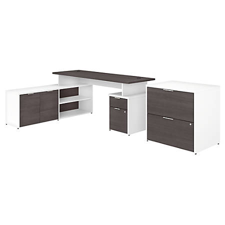 """Bush Business Furniture Jamestown L-Shaped Desk With Drawers And Lateral File Cabinet, 72""""W, Storm Gray/White, Premium Installation"""