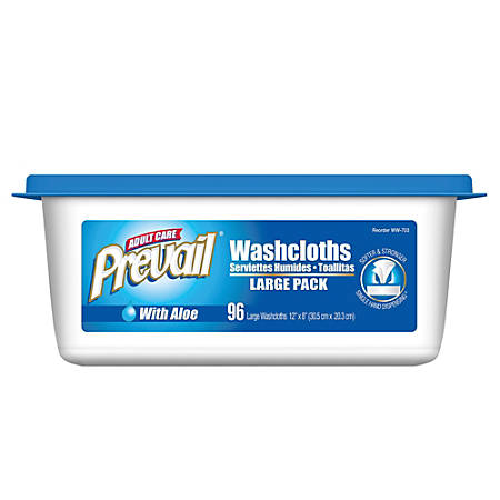 """Prevail® Disposable Washcloths, Institutional Jumbo Tub, 12"""" x 8"""", Pack Of 96"""