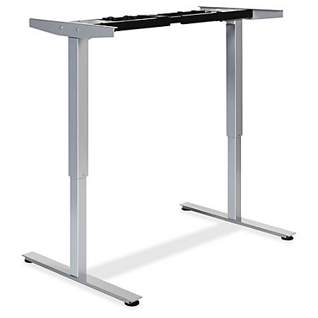Lorell® Quadro Electric Sit-To-Stand Desk 2-Tier Base, Silver