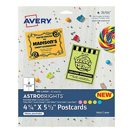 "Avery® Astrobrights Cardstock Postcards, 8-1/2"" x 11"" Sheets, 30% Recycled, Assorted Colors, 4 Cards Per Sheet, Pack Of 100 Sheets"
