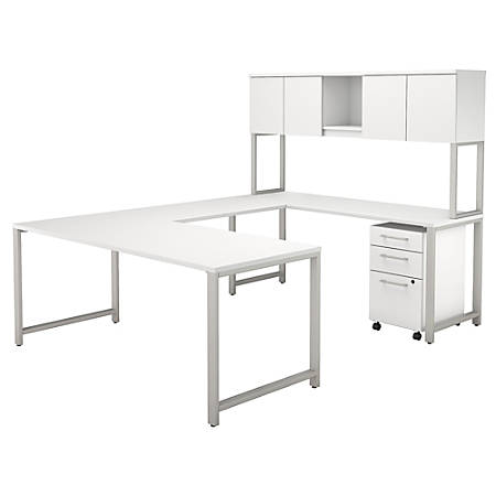 """Bush Business Furniture 400 Series U Shaped Table Desk with Hutch and 3 Drawer Mobile File Cabinet, 72""""W, White, Premium Installation"""