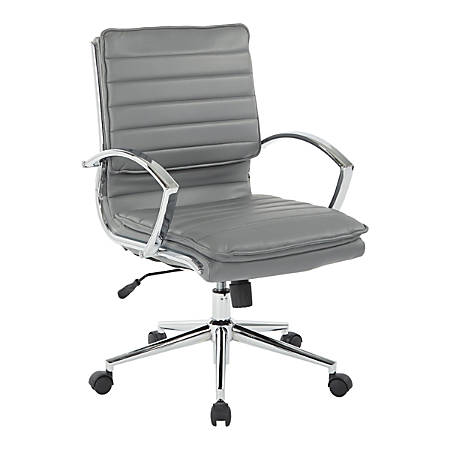 Office Star™ Pro-Line II™ SPX Series Bonded Leather Mid-Back Chair, Charcoal/Chrome