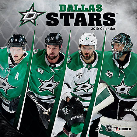 "Turner Sports Monthly Wall Calendar, 12"" x 12"", Dallas Stars, January to December 2019"