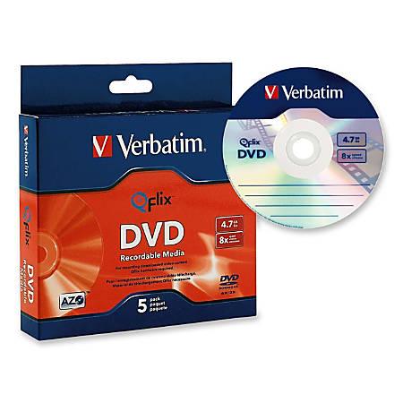 Verbatim Qflix 5pk Slimcase - 120mm - Single-layer Layers - 2 Hour Maximum Recording Time