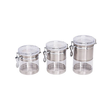 """Honey-Can-Do 4-Piece Round Stainless & Acrylic Canister Set, 4"""", Chrome/Clear"""